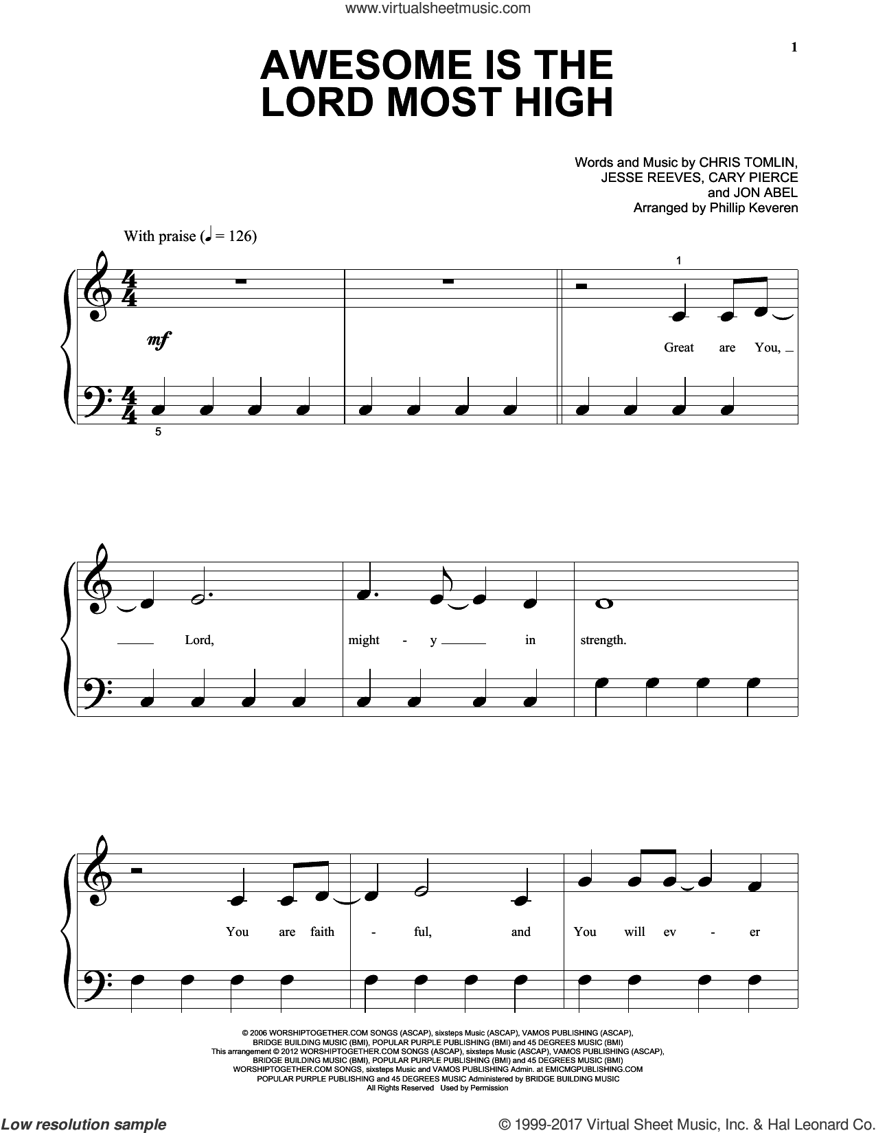 Awesome Is The Lord Most High sheet music for piano solo (big note book) by Brenton Brown, Chris Tomlin and Jesse Reeves, easy piano (big note book). Score Image Preview.