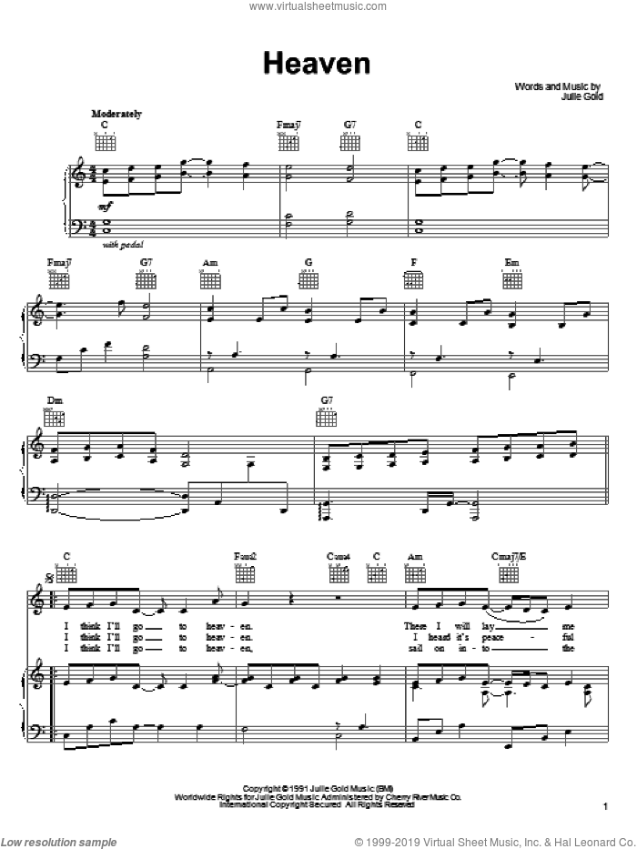 Heaven sheet music for voice, piano or guitar by Julie Gold. Score Image Preview.