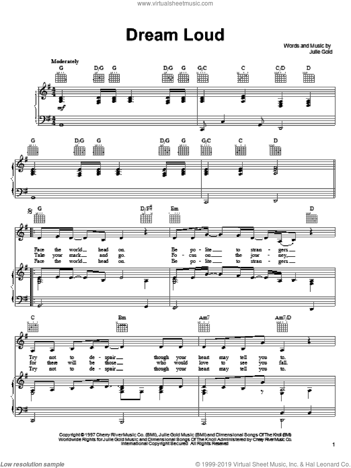Dream Loud sheet music for voice, piano or guitar by Julie Gold. Score Image Preview.