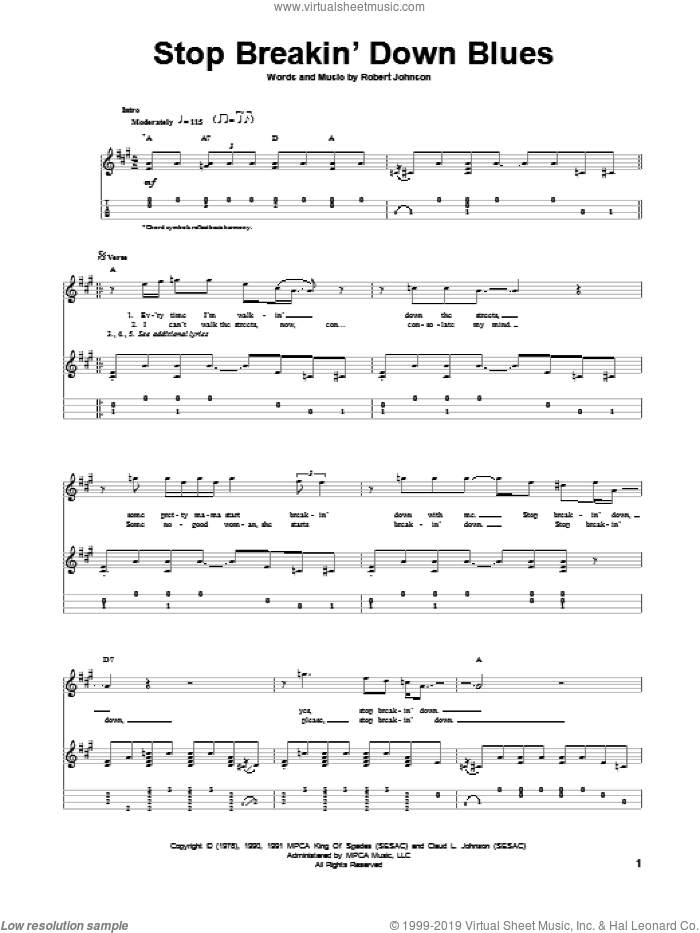 Stop Breakin' Down Blues sheet music for ukulele by Robert Johnson