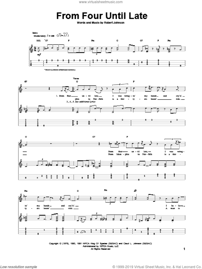 From Four Until Late sheet music for ukulele by Robert Johnson