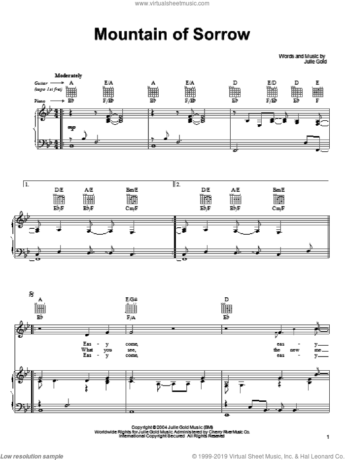 Mountain Of Sorrow sheet music for voice, piano or guitar by Julie Gold. Score Image Preview.