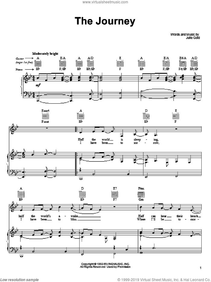 The Journey sheet music for voice, piano or guitar by Julie Gold. Score Image Preview.
