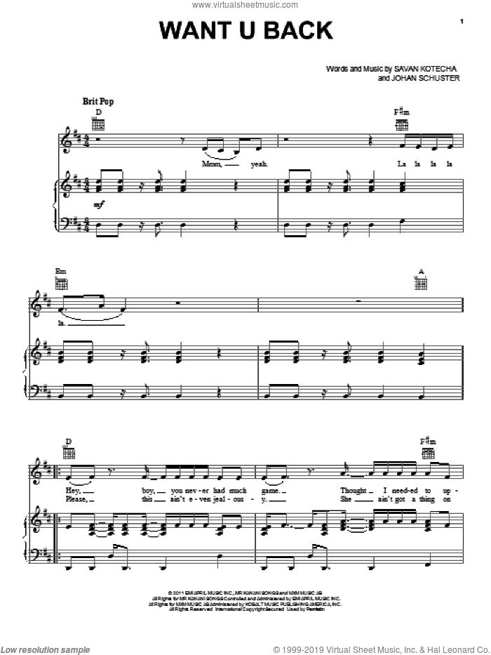 Want U Back sheet music for voice, piano or guitar by Savan Kotecha and Johan Schuster. Score Image Preview.