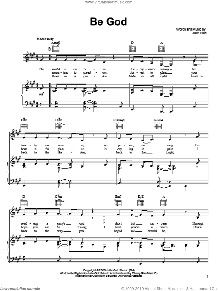 Be God sheet music for voice, piano or guitar by Julie Gold, intermediate skill level