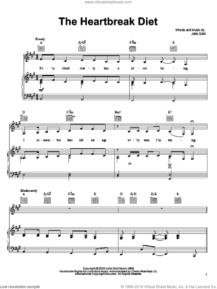 The Heartbreak Diet sheet music for voice, piano or guitar by Julie Gold. Score Image Preview.