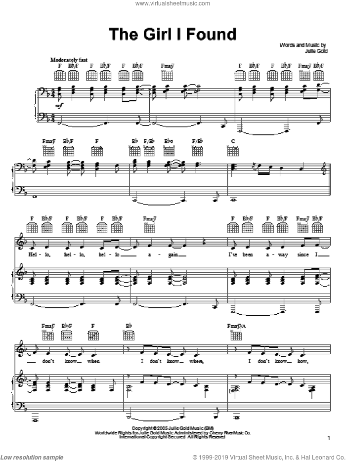 The Girl I Found sheet music for voice, piano or guitar by Julie Gold. Score Image Preview.