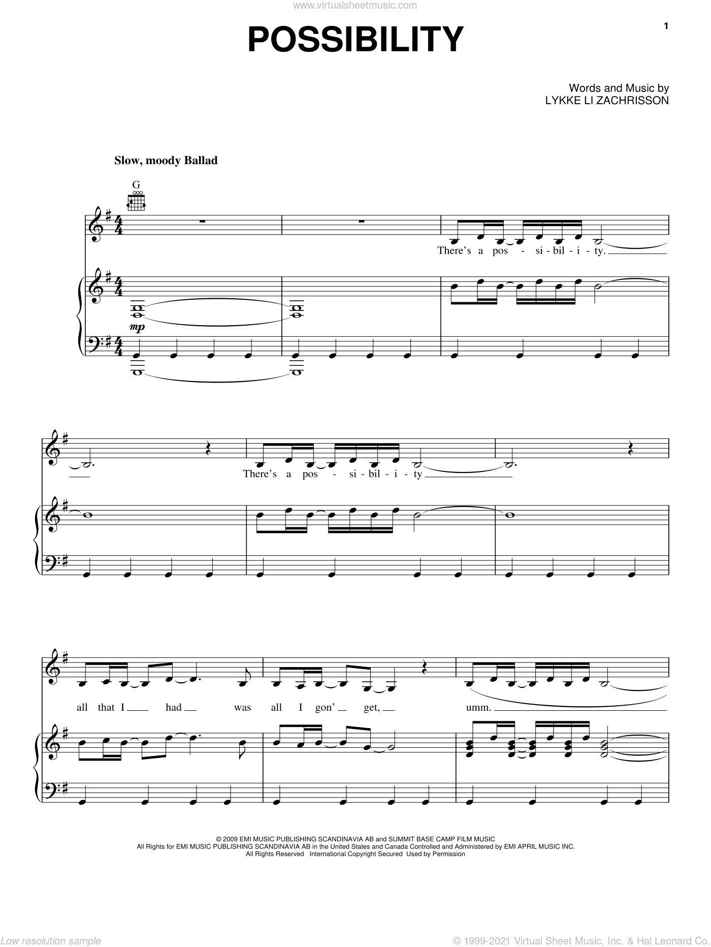 Possibility sheet music for voice, piano or guitar by Lykke Li and Lykke Li Zachrisson, intermediate skill level
