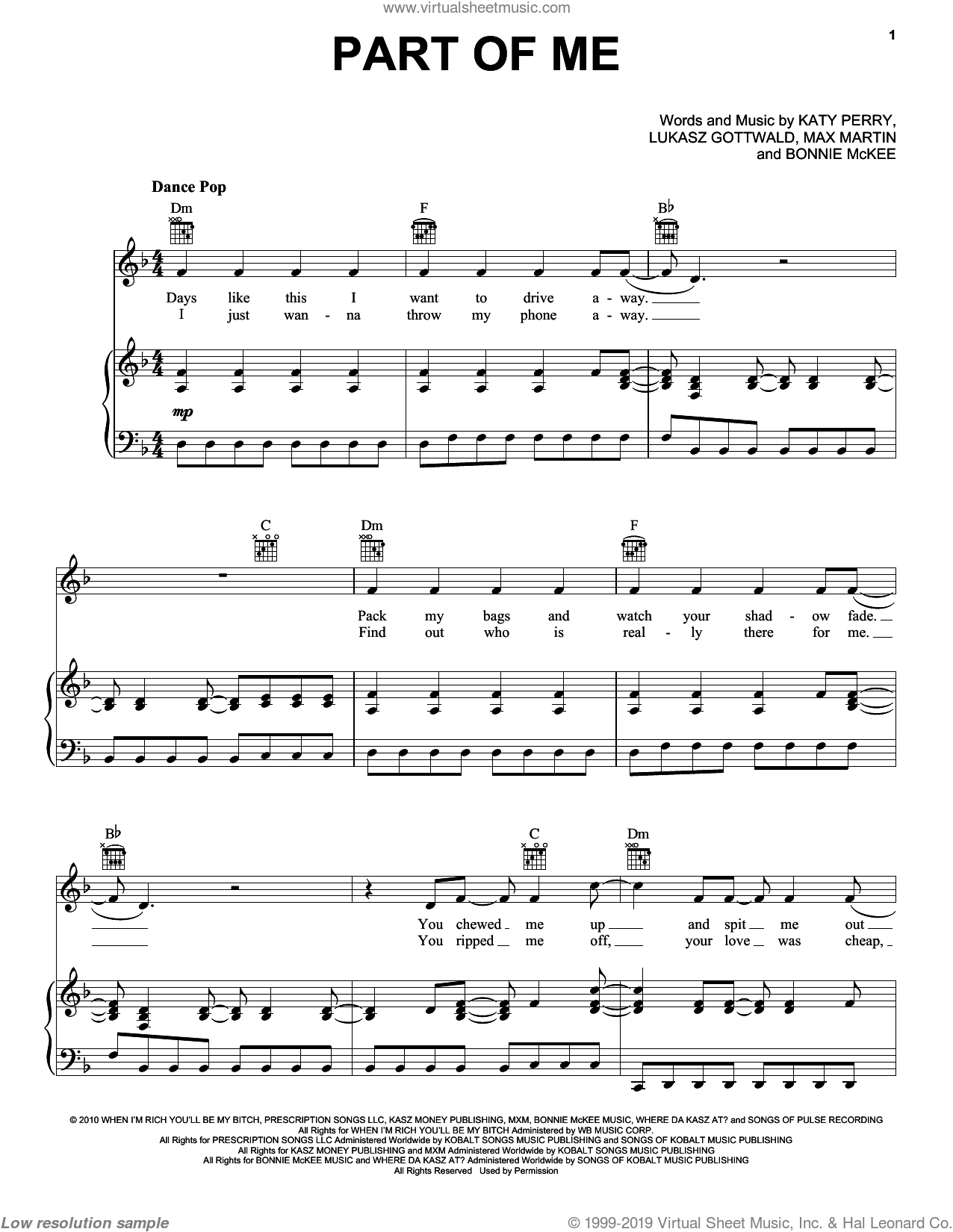 Part Of Me sheet music for voice, piano or guitar by Max Martin, Bonnie McKee, Katy Perry and Lukasz Gottwald. Score Image Preview.