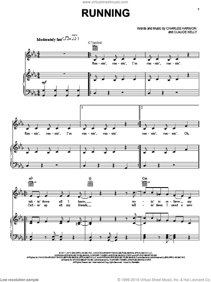 Running/Runnin' sheet music for voice, piano or guitar by Claude Kelly, Cee Lo Green, Charles Harmon, Goapele, Jordin Sparks, Sparkle (Movie) and Whitney Houston, intermediate skill level