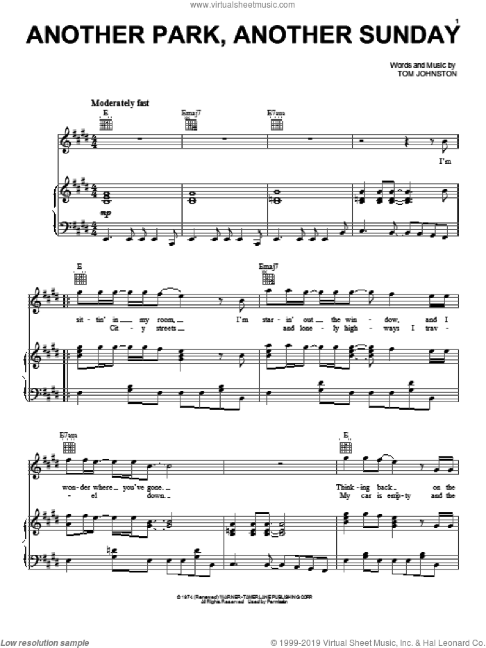 Another Park, Another Sunday sheet music for voice, piano or guitar by The Doobie Brothers and Tom Johnston, intermediate skill level