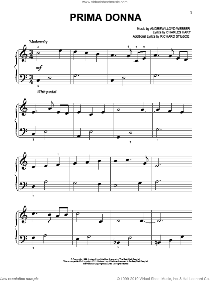 Prima Donna sheet music for piano solo (big note book) by Andrew Lloyd Webber, easy piano (big note book). Score Image Preview.