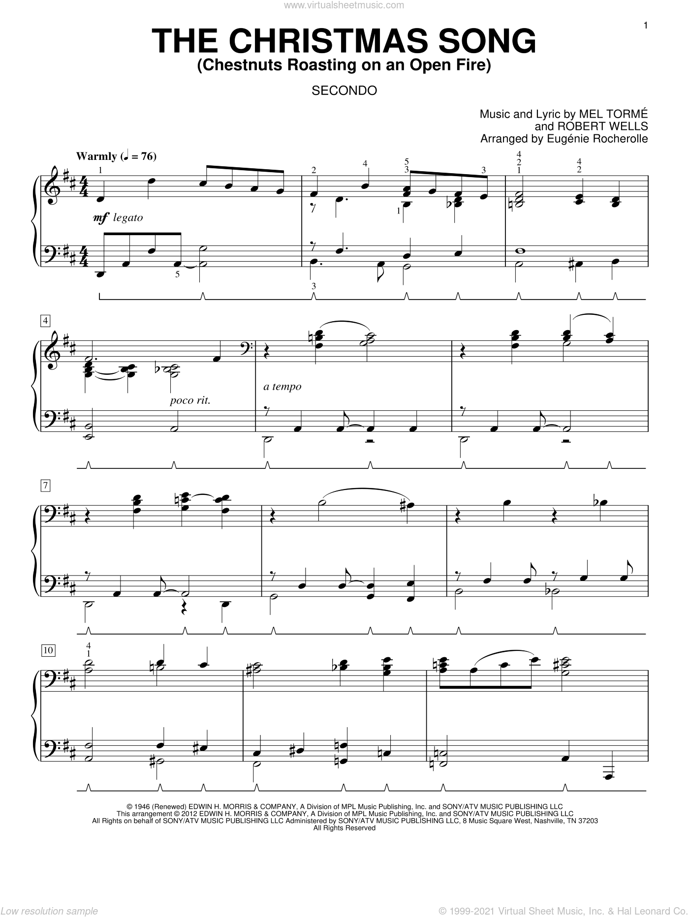 The Christmas Song (Chestnuts Roasting On An Open Fire) sheet music for piano four hands (duets) by Eugenie Rocherolle. Score Image Preview.