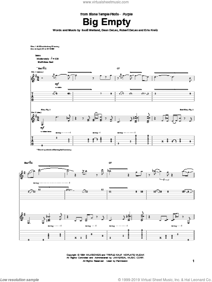 Big Empty sheet music for guitar (tablature) by Stone Temple Pilots, intermediate guitar (tablature). Score Image Preview.