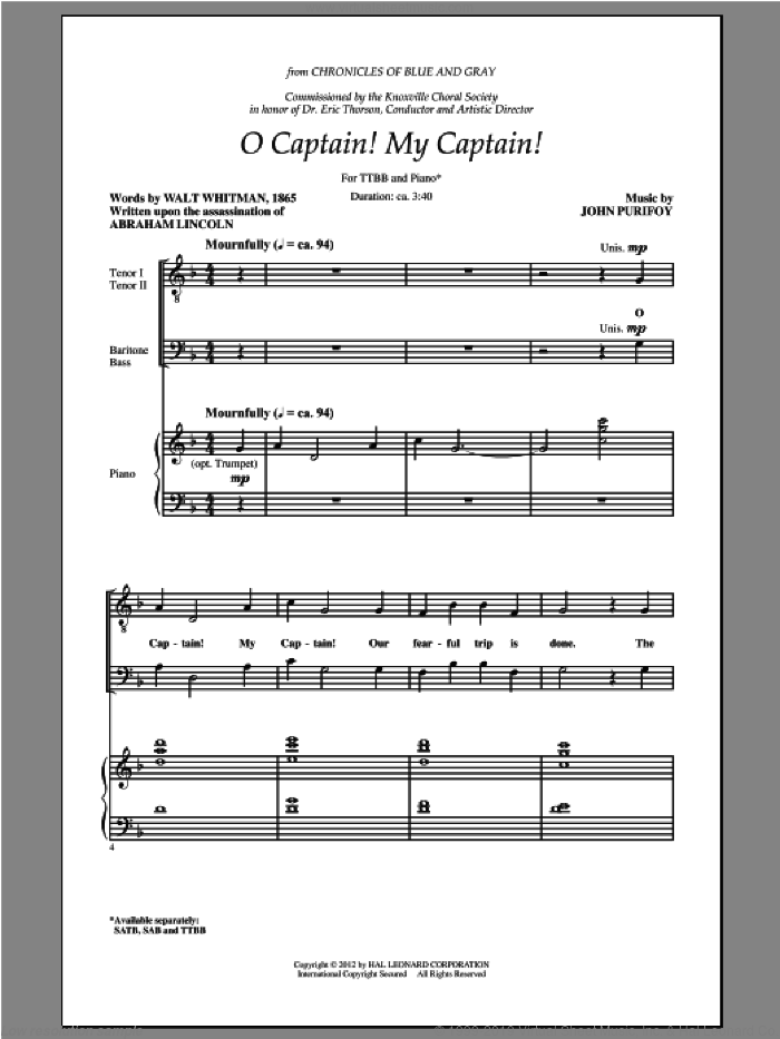 O Captain! My Captain! sheet music for choir and piano (TTBB) by John Purifoy and Walt Whitman. Score Image Preview.