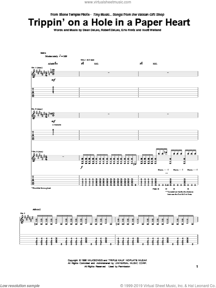 Trippin' On A Hole In A Paper Heart sheet music for guitar (tablature) by Scott Weiland. Score Image Preview.