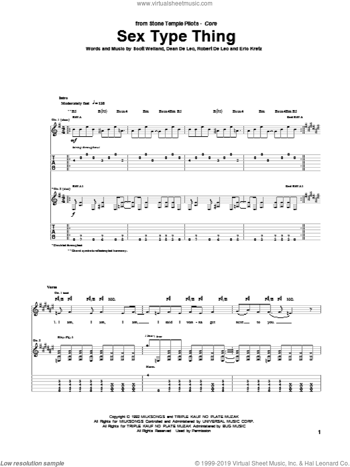 Sex Type Thing sheet music for guitar (tablature) by Stone Temple Pilots, intermediate. Score Image Preview.