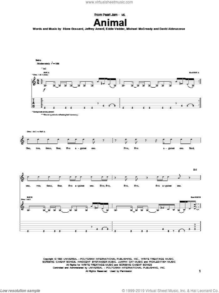Animal sheet music for guitar (tablature) by Stone Gossard, Eddie Vedder, Jeffrey Ament, Michael McCready and Pearl Jam. Score Image Preview.