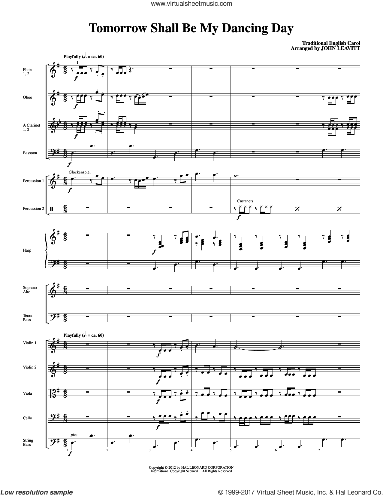 Tomorrow Shall Be My Dancing Day (complete set of parts) sheet music for orchestra/band (Chamber Orchestra) by John Leavitt and Miscellaneous, intermediate skill level