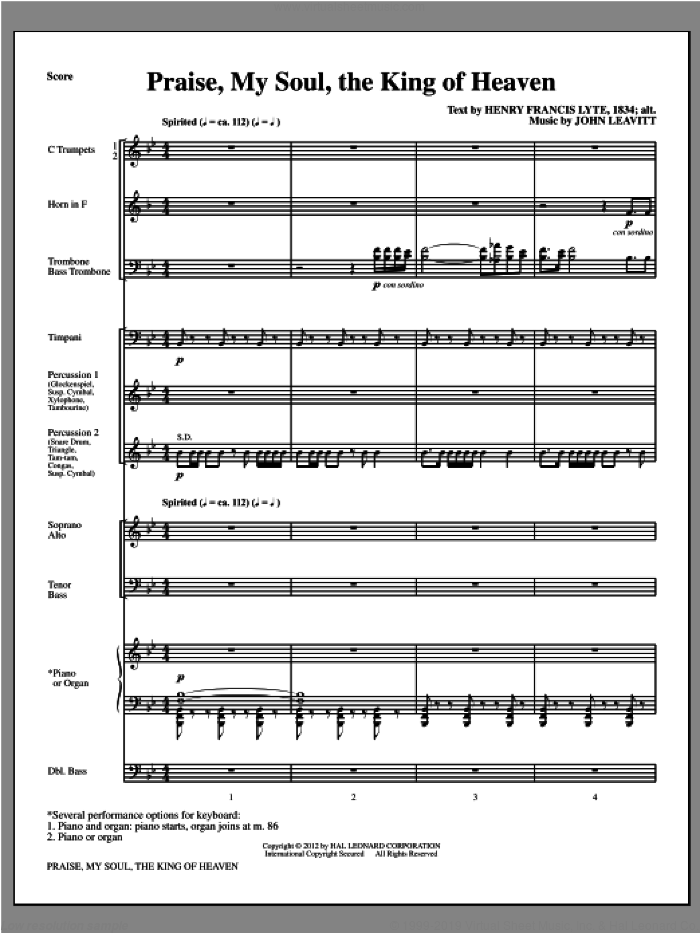 Praise, My Soul, The King Of Heaven (complete set of parts) sheet music for orchestra/band (Brass/Percussion) by John Leavitt and Henry Lyte, intermediate skill level