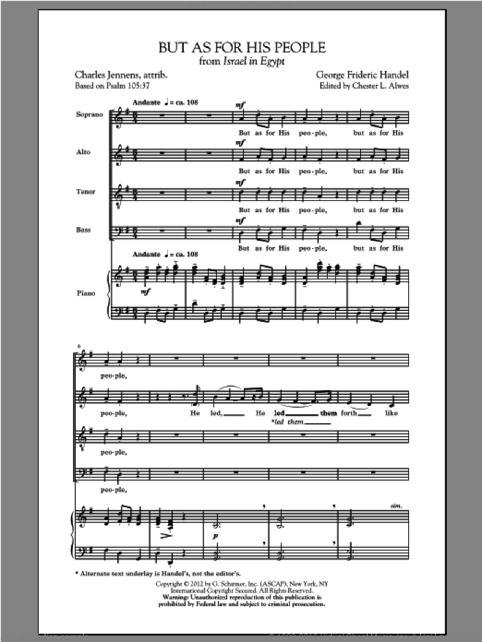 But As For His People sheet music for choir (SATB: soprano, alto, tenor, bass) by George Frideric Handel and Chester Alwes, classical score, intermediate skill level