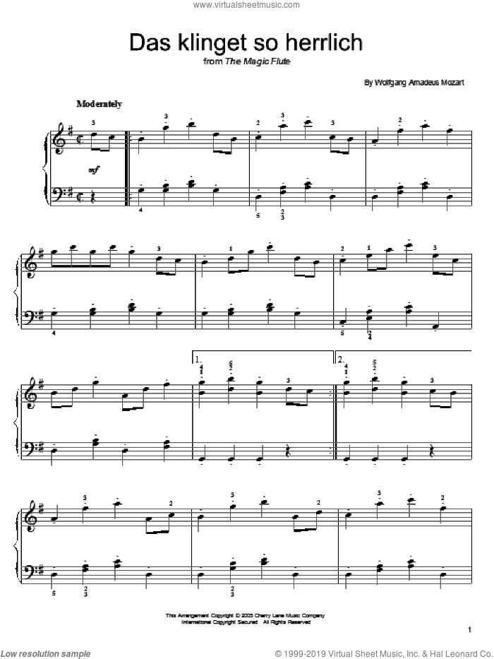 Das Klinget So Herrlich sheet music for piano solo by Wolfgang Amadeus Mozart. Score Image Preview.
