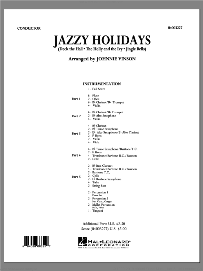 Jazzy Holidays (COMPLETE) sheet music for concert band by Johnnie Vinson, intermediate skill level
