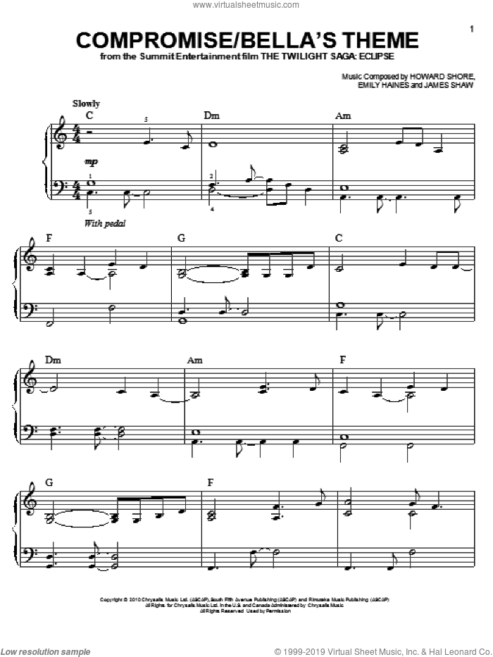 Compromise/Bella's Theme sheet music for piano solo by Howard Shore, Emily Haines, James Shaw and Twilight: Eclipse (Movie), easy. Score Image Preview.