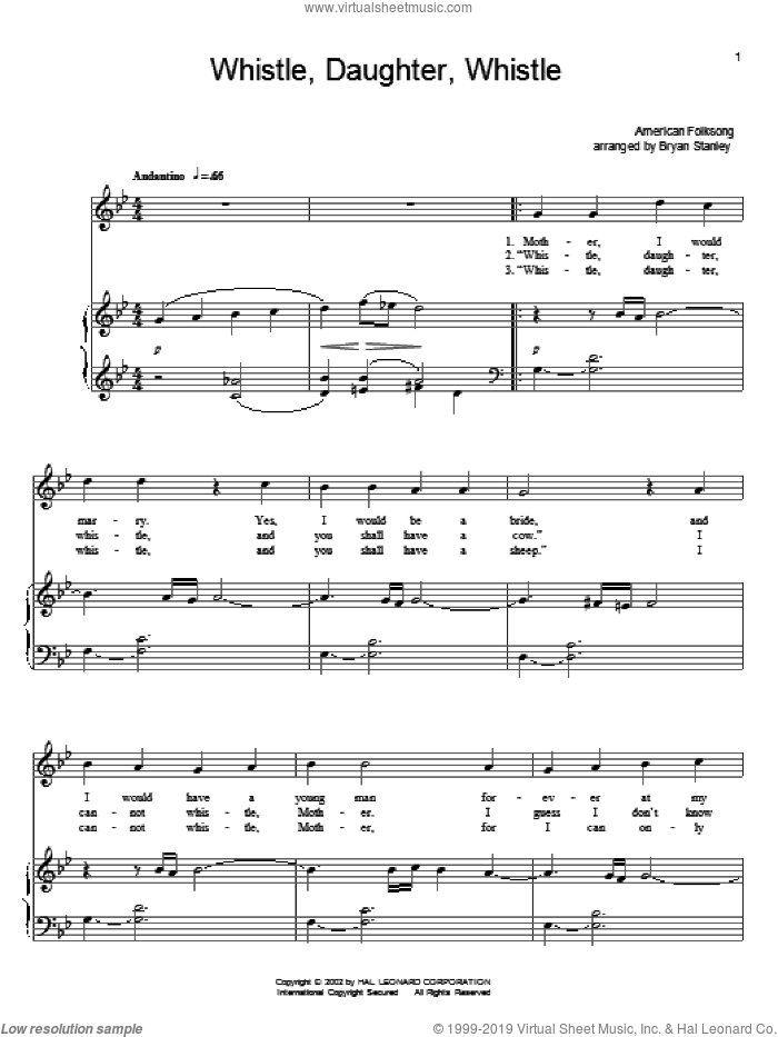 Whistle, Daughter, Whistle sheet music for voice and piano, intermediate skill level