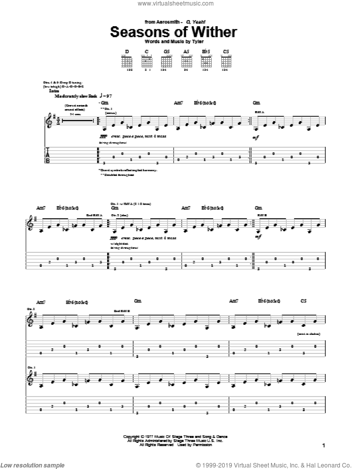 Seasons Of Wither sheet music for guitar (tablature) by Steven Tyler and Aerosmith. Score Image Preview.
