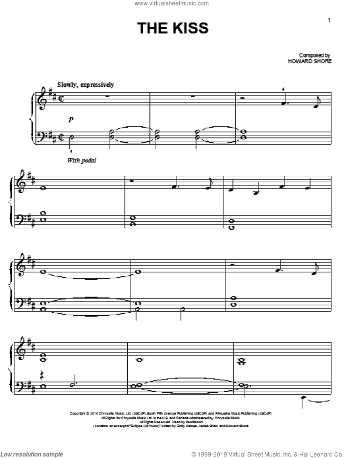 The Kiss sheet music for piano solo by Howard Shore, easy