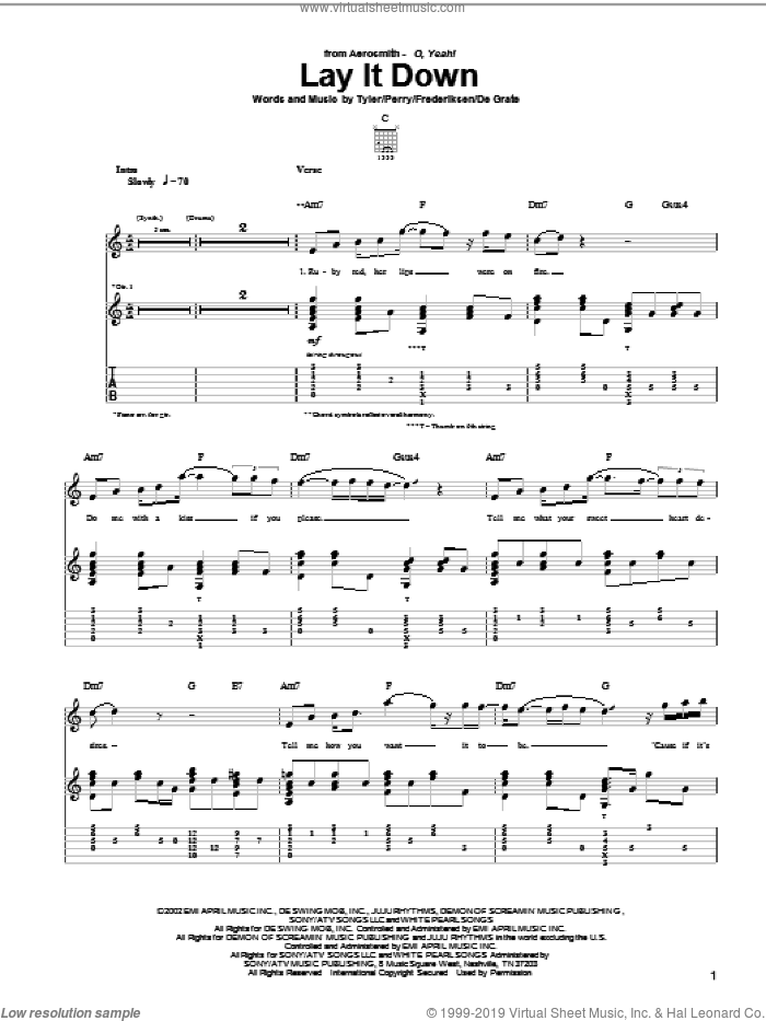 Lay It Down sheet music for guitar (tablature) by Steven Tyler, Aerosmith, Joe Perry and Marti Frederiksen. Score Image Preview.