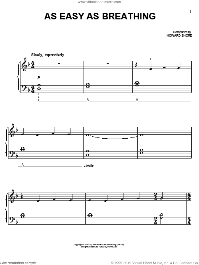 As Easy As Breathing sheet music for piano solo (chords) by Howard Shore