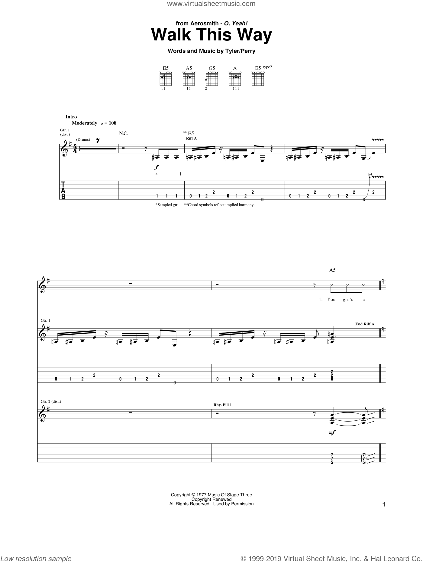 Walk This Way sheet music for guitar (tablature) by Aerosmith & Run D.M.C., Aerosmith, Run D.M.C., Joe Perry and Steven Tyler, intermediate skill level