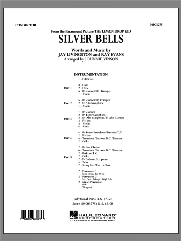 Silver Bells (COMPLETE) sheet music for concert band (orchestra) by Jay Livingston, Ray Evans and Johnnie Vinson, intermediate skill level