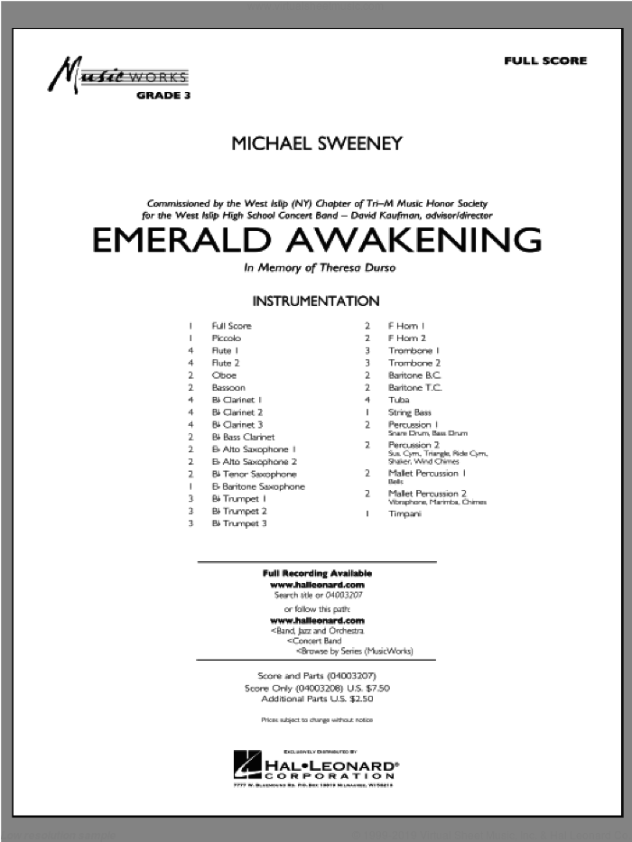 Emerald Awakening (COMPLETE) sheet music for concert band by Michael Sweeney, intermediate skill level