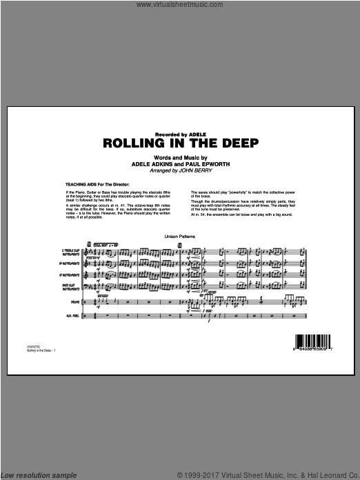 Rolling In The Deep (COMPLETE) sheet music for jazz band by Adele Adkins