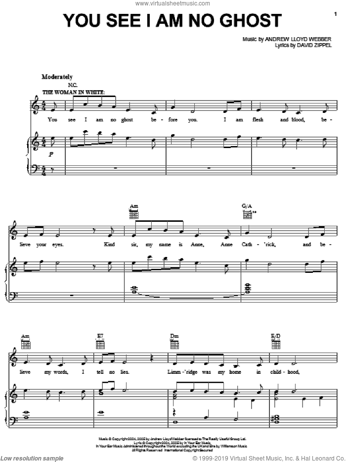 You See I Am No Ghost sheet music for voice, piano or guitar by Andrew Lloyd Webber, The Woman In White (Musical) and David Zippel, intermediate. Score Image Preview.