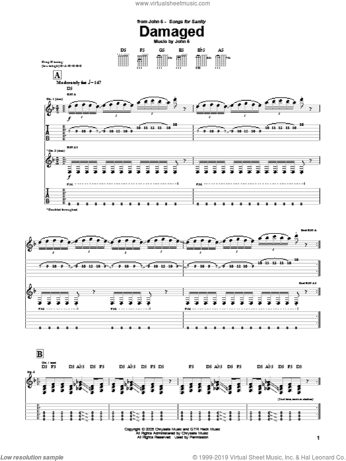 Damaged sheet music for guitar (tablature) by John5. Score Image Preview.