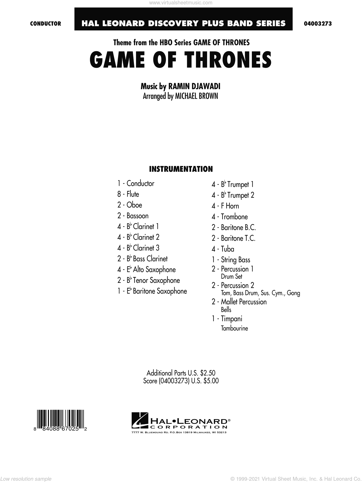 Game Of Thrones (arr. Michael Brown) sheet music for concert band (full score) by Ramin Djawadi, Game Of Thrones (TV Series) and Michael Brown, intermediate skill level