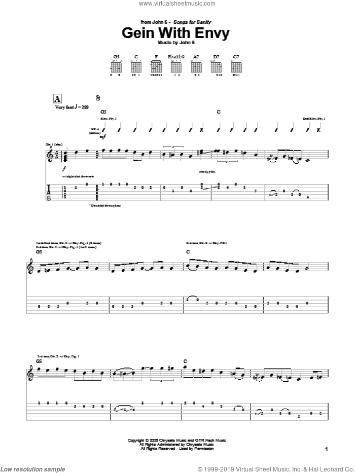 Gein With Envy sheet music for guitar (tablature) by John5, intermediate guitar (tablature). Score Image Preview.