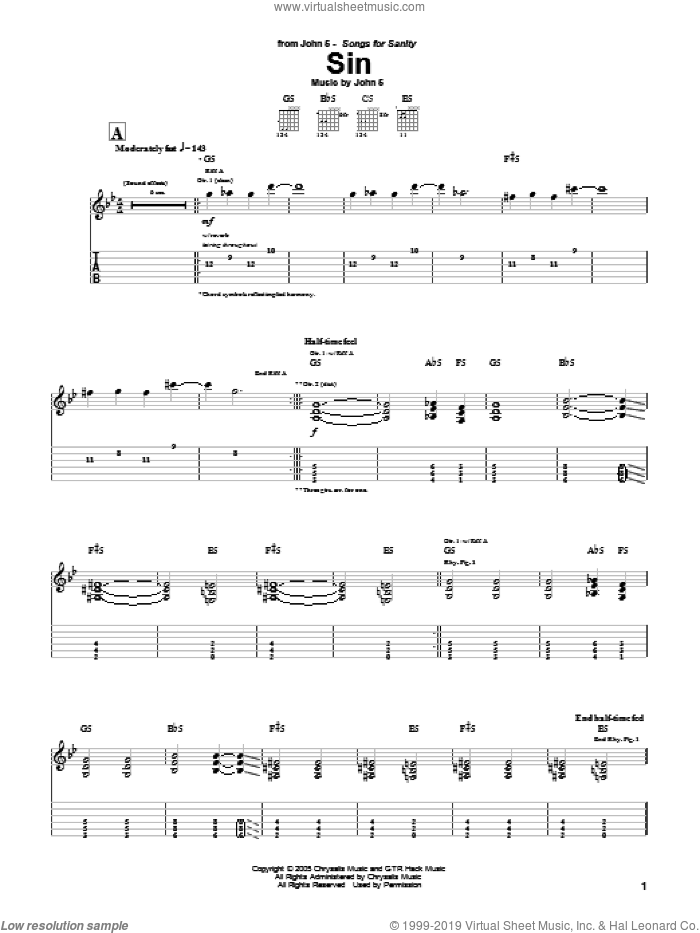 Sin sheet music for guitar (tablature) by John5. Score Image Preview.