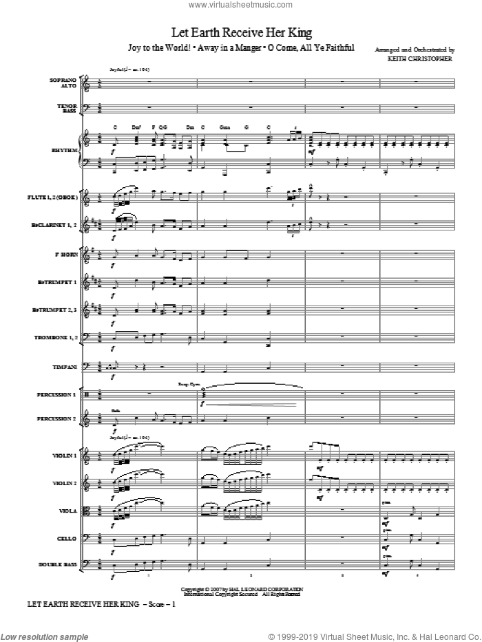 Let Earth Receive Her King (complete set of parts) sheet music for orchestra/band (Orchestra) by George Frideric Handel and Keith Christopher, intermediate. Score Image Preview.