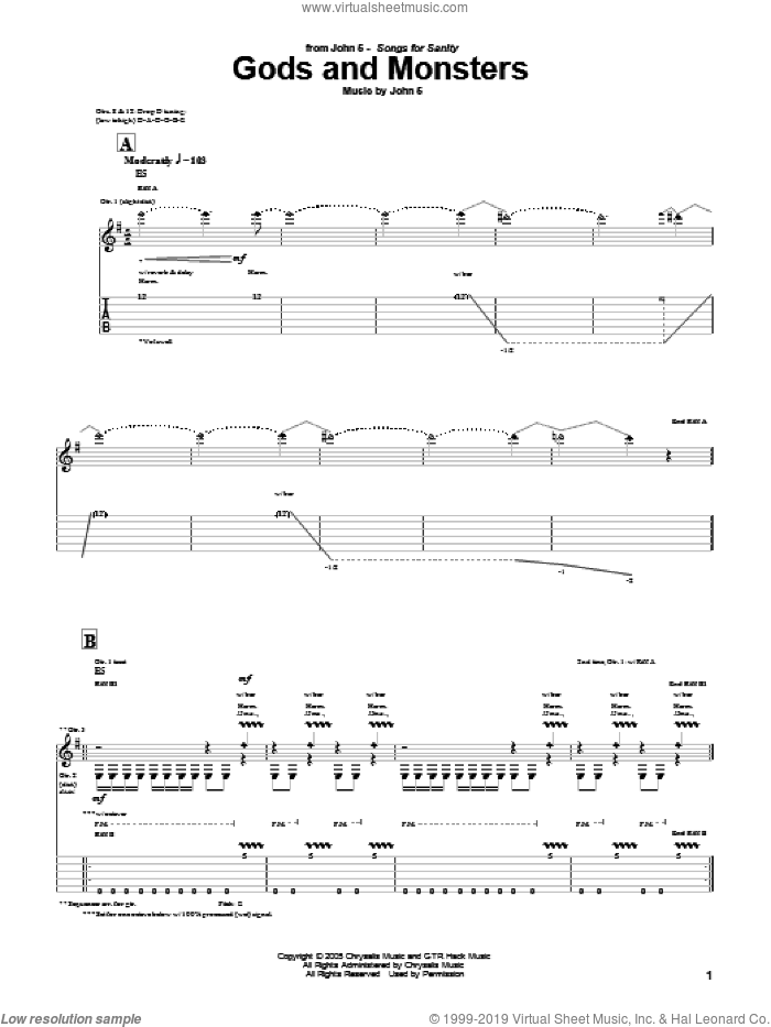 Gods And Monsters sheet music for guitar (tablature) by John5