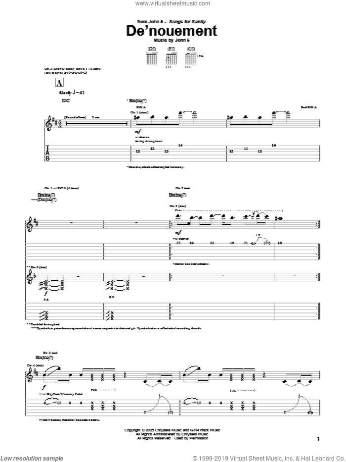 De'nouement sheet music for guitar (tablature) by John5, intermediate. Score Image Preview.