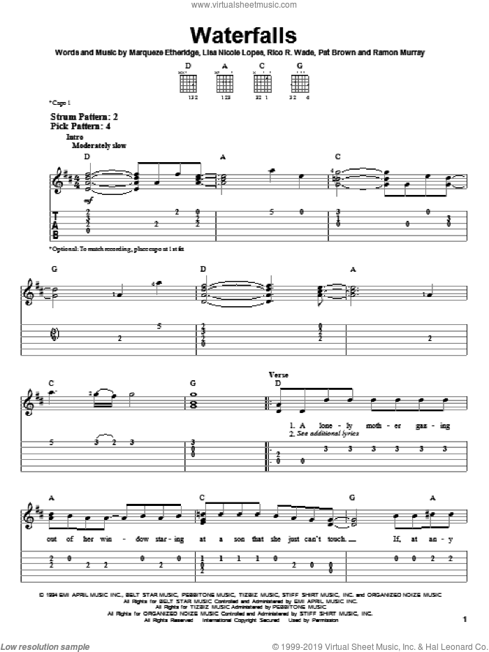 Waterfalls sheet music for guitar solo (easy tablature) by Rico Wade