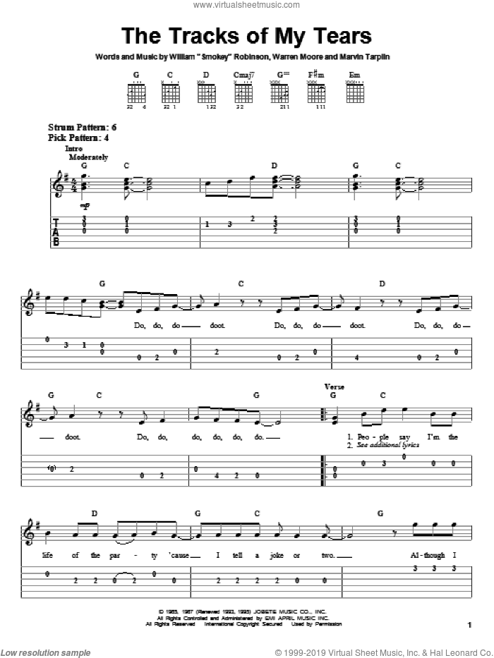 The Tracks Of My Tears sheet music for guitar solo (easy tablature) by Smokey Robinson & The Miracles, Linda Ronstadt, The Miracles, Marvin Tarplin and Warren Moore, easy guitar (easy tablature)