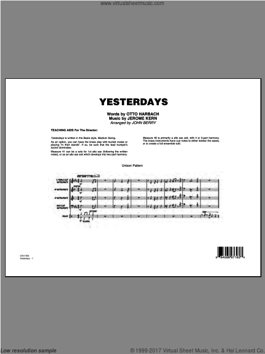 Yesterdays (COMPLETE) sheet music for jazz band by Jerome Kern
