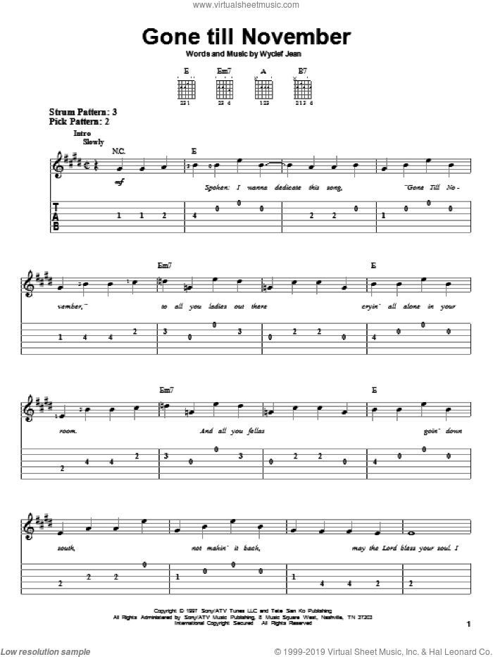 Gone Till November sheet music for guitar solo (easy tablature) by Wyclef Jean, easy guitar (easy tablature)