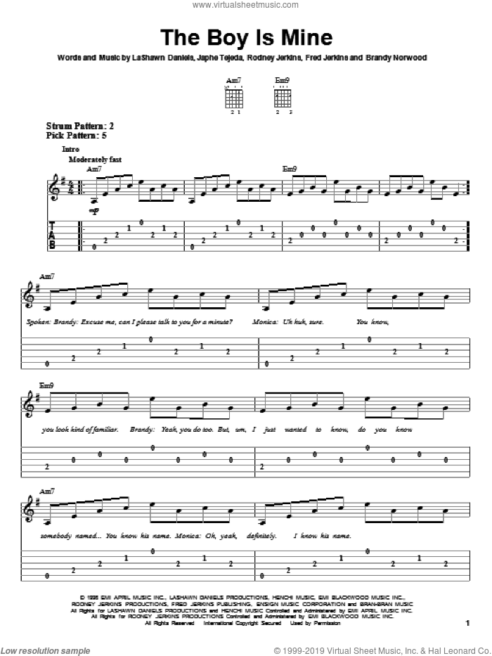 The Boy Is Mine sheet music for guitar solo (easy tablature) by Rodney Jerkins, Brandy, Monica and LaShawn Daniels